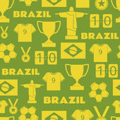 Brazil Football Seamless Pattern — Stock Vector