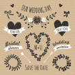 Cardboard Paper Wedding Design Elements — Stock Vector
