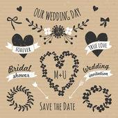 Cardboard Paper Wedding Design Elements — Stock Vector
