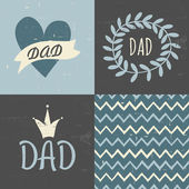 Father's Day Greeting Cards Collection — Stock Vector