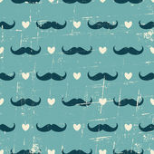 Seamless Mustache and Hearts Background — Stok Vektör