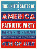 US Independence Day Party Flyer — Stock Vector