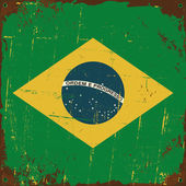 Brazil Flag Metal Sign — Vector de stock