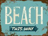 Beach Tin Sign — Stock Vector
