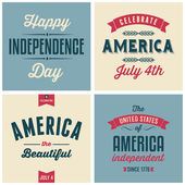 US Independence Day Cards Collection — Stock Vector