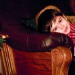 Boy looks out for christmas tree, indoor — Stock Photo #8389902