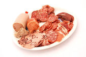 German cold meat platter on white — Stock Photo