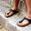Stock Photo: Feet of monk