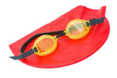 Bathing cap with goggles — Stock Photo