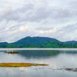 Rowing boat on Lak lake, Central Highlands of Vietnam — Stock Photo