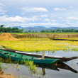 Two wooden boats are anchored, golden hours on the Lak lake, Daklak province, Vietnam — Stock Photo