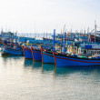 Stock Photo: Idle boats in My Twharf, early morning, Ninh Thuprovince, Vietnam