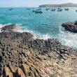 Stock Photo: Panoramof Ghenh DDi(Ganh DDia), giant's basalt causeway. Tuy District, Phu Yen Province, Vietnam