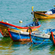 Small wooden boats in Dai Lanh wharf, Phu Yen Province, Vietnam — Stock Photo