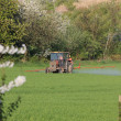 Farm tractor spraying field before planting - Zdjęcie stockowe