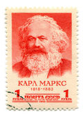 Stamp printed in Soviet Union of Karl Marx — Stock Photo