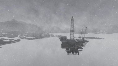 Oil rig platform standing in frozen sea — Stock Video #12877948