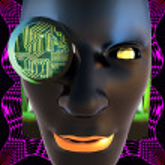 Cyborg's face — Stock Photo