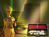 Themis and coins — Foto Stock