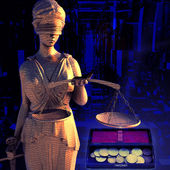 Themis and coins — Stock Photo