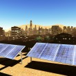 Solar power panels in city - Stock Photo