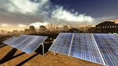 Solar power panels in city — Stock Photo