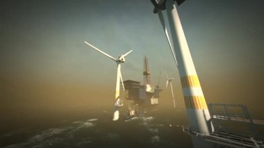 Oil rig platform and wind turbines off shore — Stock Video