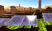 Pannelli solari in città — Foto Stock