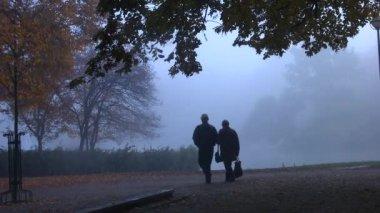 Senior couple in misty fall park in morning — Stock Video