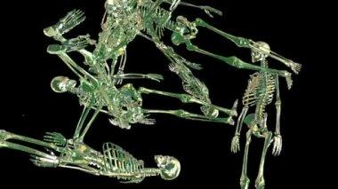 Flying human skeletons — Stock Video