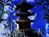 Buddhist temple in mountains — Foto Stock