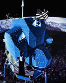 Moon rover on alien planet — Stock Photo
