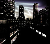 Business District at Night — Stock Photo
