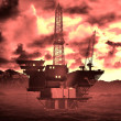 Oil rig  platform - Stock Photo