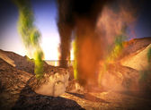 Awesome volcanic eruption on island — Stock Photo