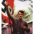 Adolf Hitler holding Nazi flag with swastika - Stock Photo