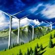 Stock Photo: Wind turbines onshore