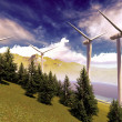 Foto Stock: Wind turbines onshore