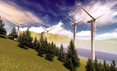 Wind turbines onshore — Foto Stock