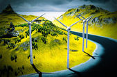 Wind turbines onshore — Stock Photo