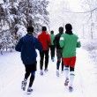 Young men train on snow — Stock Photo