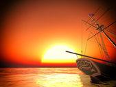 Vmáčknutý staré pirátské fregata — Stock fotografie