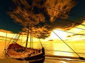Frégate de pirate vieux coulés — Photo