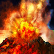 Stock Photo: Volcanic eruption on island