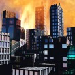 Armageddon  scene in city - Stock Photo