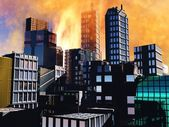 Armageddon scene in city — Stock Photo