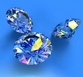 Faceted blue diamonds — Stock Photo