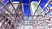 Steel structure on construction site — Stock Photo