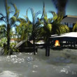 Tsunami destroying bungalows — Stock Video