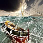 Sinking pirate brigantine — Stock Photo